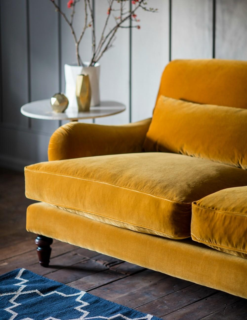 Three Seater Or Two Seater Velvet Sofa | Rose & Grey Throughout Yellow Sofa Chairs (Image 17 of 20)