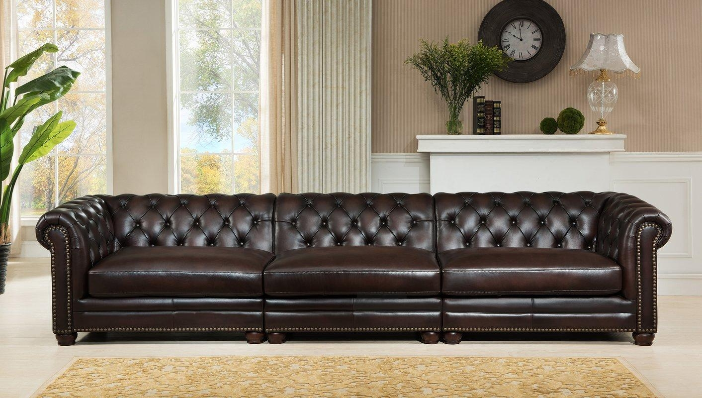 Three Seater Oxblood Red Leather Chesterfield Sofa (Image 19 of 20)