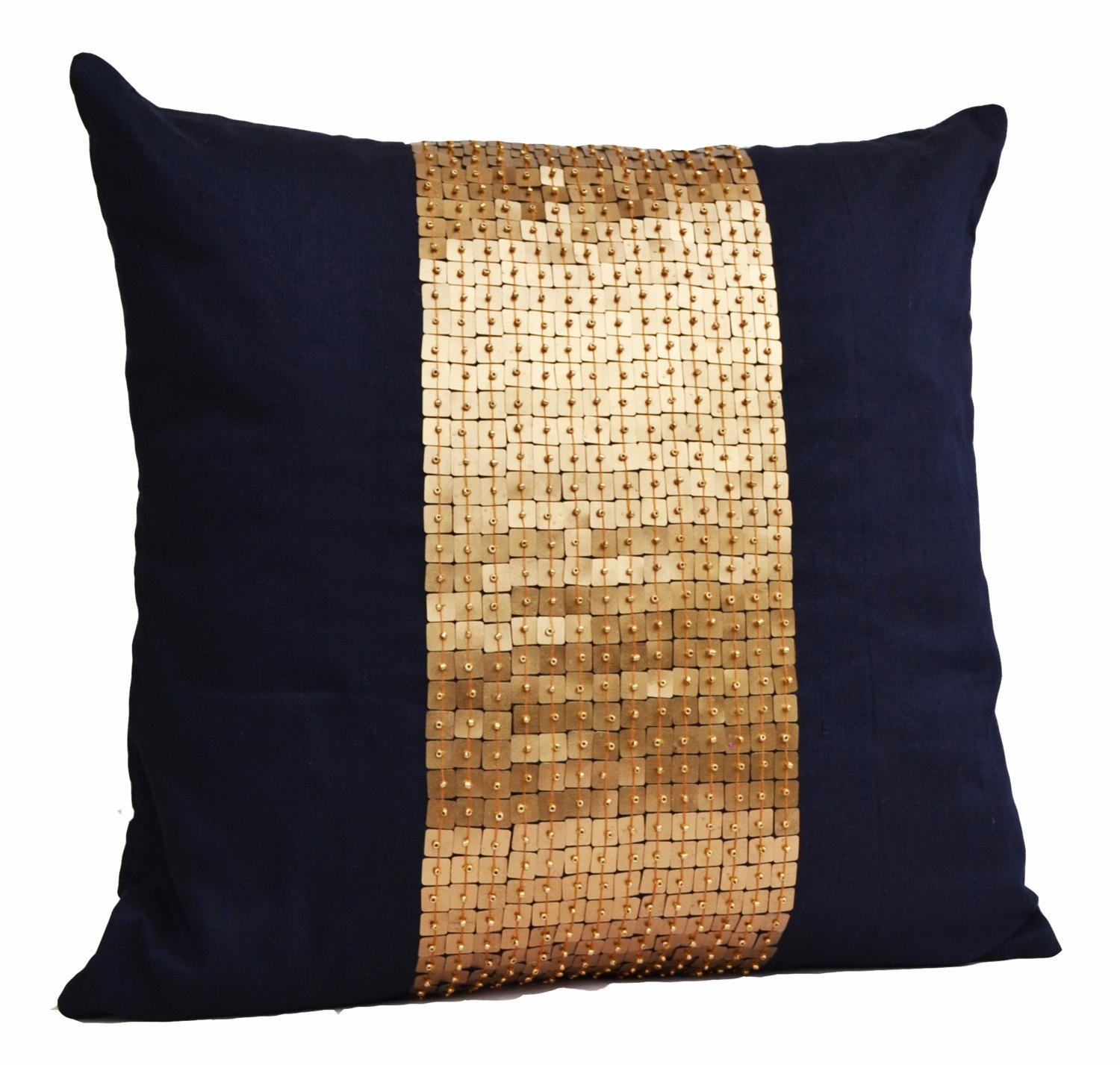Throw Pillows Navy Blue Gold Color Block In Silk Sequin Bead Inside Gold Sofa Pillows (Image 20 of 20)