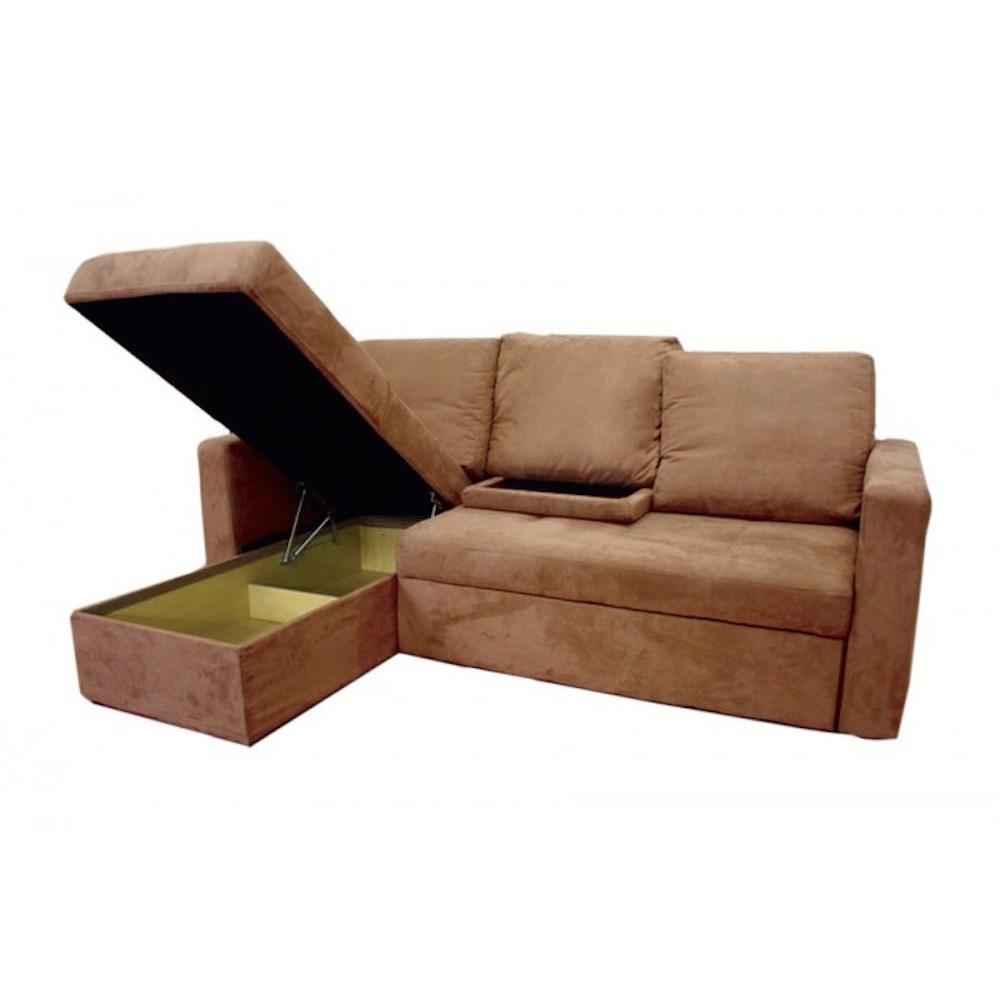 Thy Hom 4114Lfc Saleen Microsuede Sectional Sofa Bed With Storage Regarding Sectional Sofa Bed With Storage (View 11 of 20)