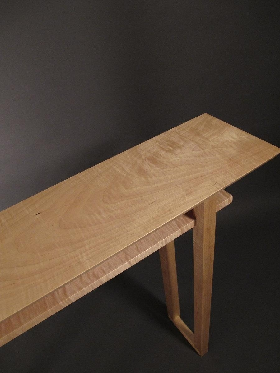 Tiger Maple Narrow Console Table: Mid Century Modern Wood Intended For Asian Sofa Tables (Image 19 of 20)