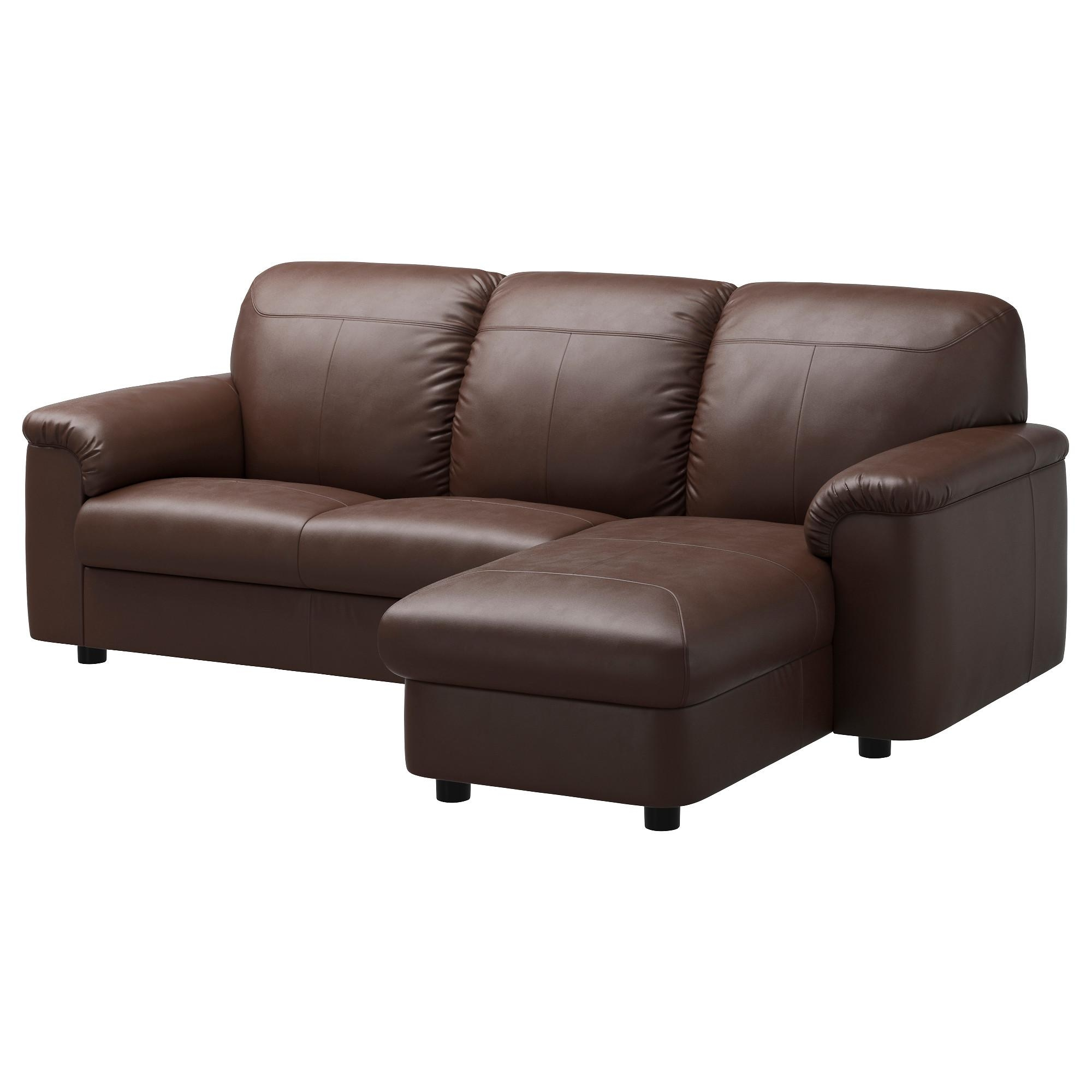 Timsfors Two Seat Sofa With Chaise Longue Mjuk/kimstad Dark Brown Regarding Ikea Two Seater Sofas (View 12 of 20)