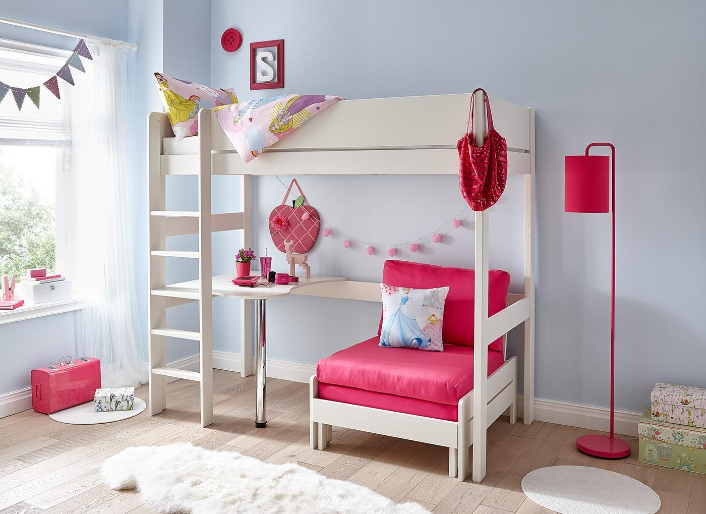 Tinsley Highsleeper With Desk – Pink And White | Dreams Within High Sleeper Bed With Sofa (Image 16 of 20)