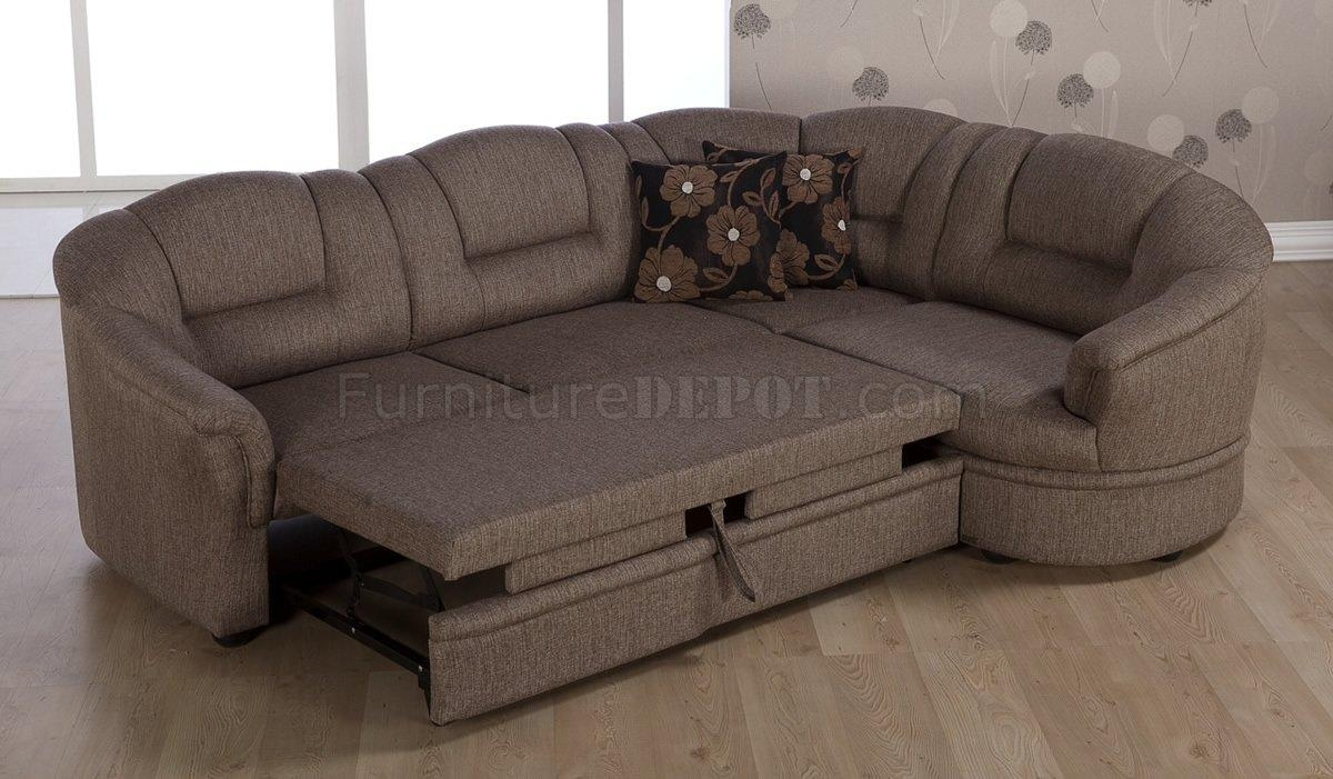 Tone Brown Fabric Convertible Sectional Sofa Bed W/storage Within Sectional Sofa With Storage (Image 20 of 20)