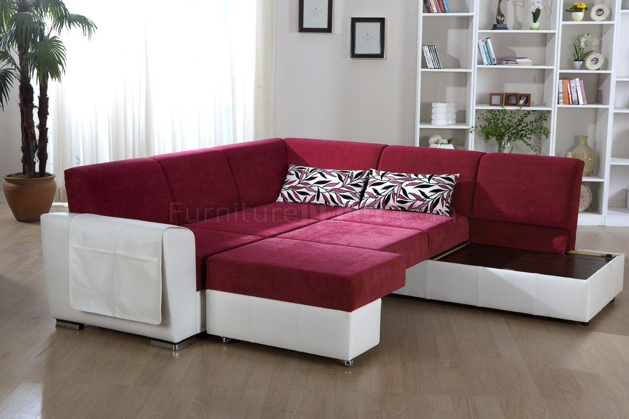 Tone Pink & White Convertible Sectional Sofa W/storage Intended For Convertible Sectional Sofas (Image 14 of 15)