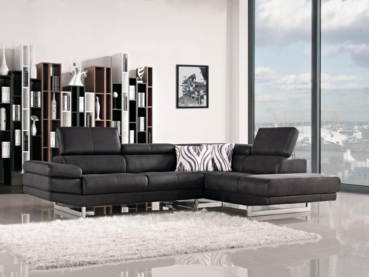 Tosh Furniture Modern Black Sectional Sofa Furniture Flap Stores In Black Modern Sectional Sofas (View 4 of 20)