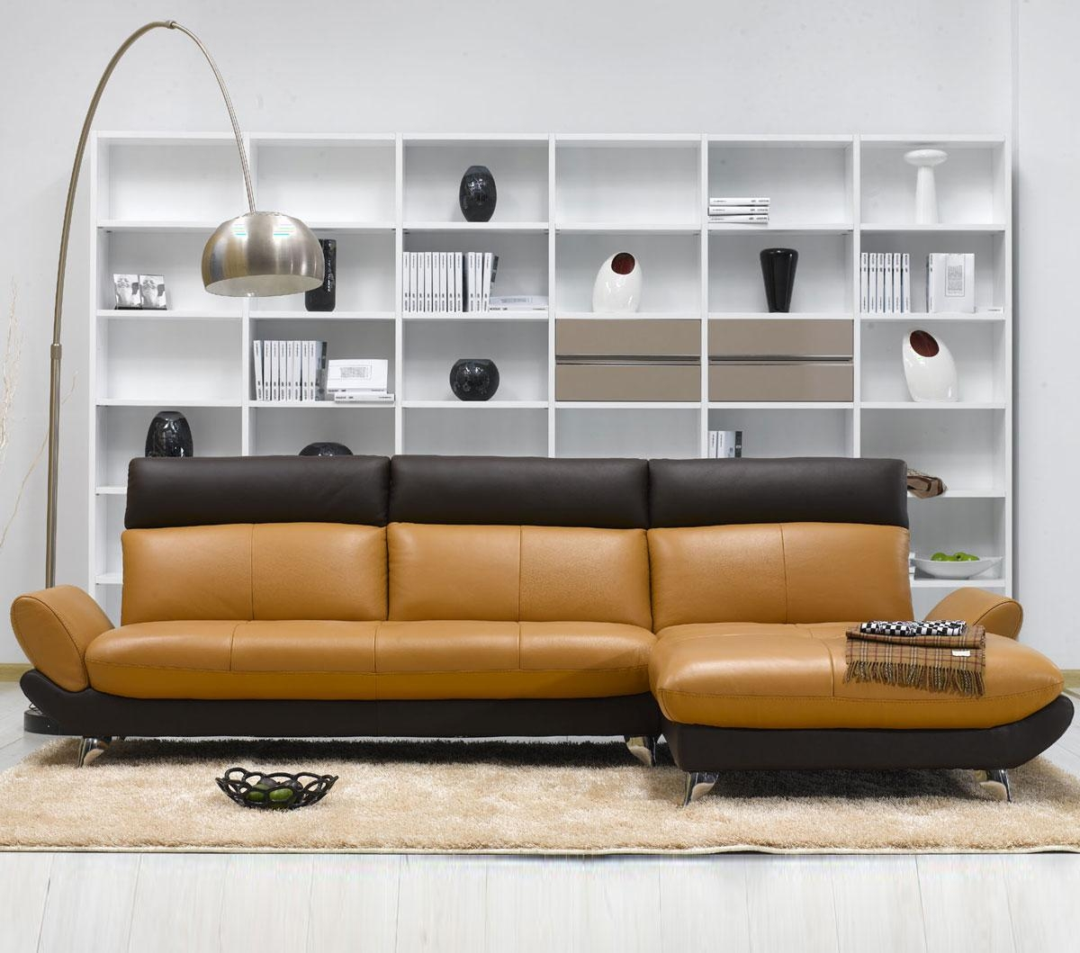 Tosh Furniture Modern Caramel/brown Leather Sectional Sofa – Flap Pertaining To Carmel Leather Sofas (Image 20 of 20)
