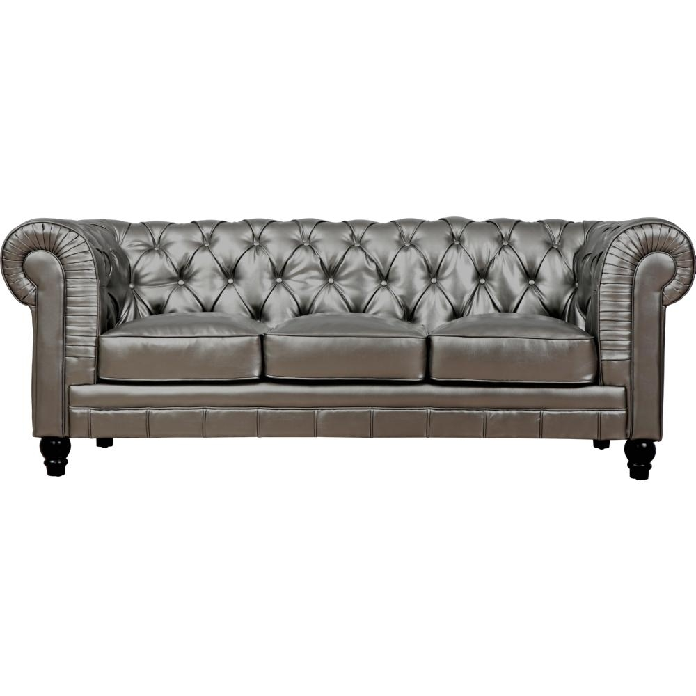 Tov Furniture Tov S24 Zahara Tufted Silver Leather Sofa W/ Roll Back Regarding Silver Tufted Sofas (Image 16 of 20)