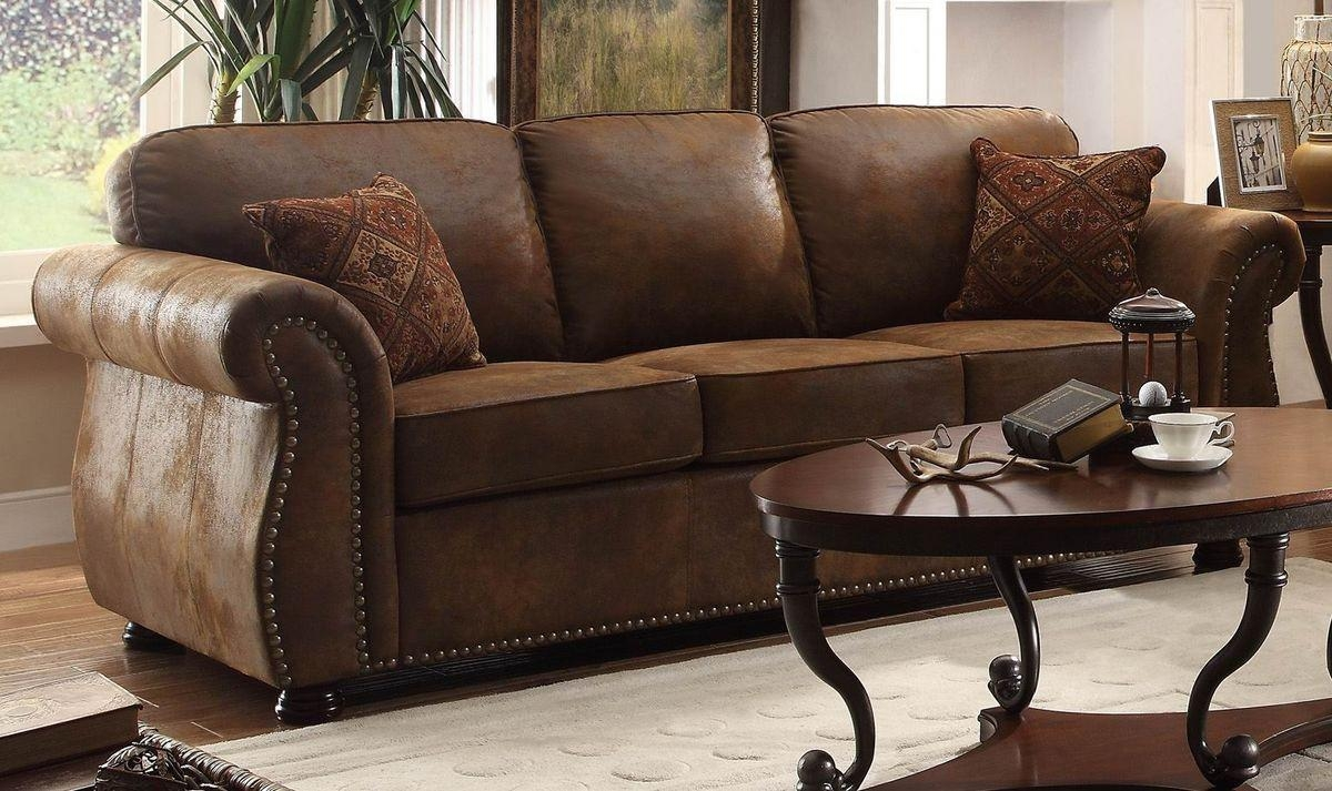Traditional Brown Bomber Jacket Microfiber Sofa Reversible Seat Regarding Bomber Leather Sofas (Image 19 of 20)