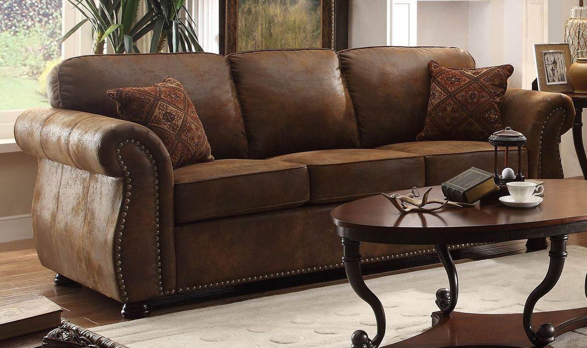 Traditional Brown Bomber Jacket Microfiber Sofa Reversible Seat Regarding Bomber Leather Sofas (View 3 of 20)