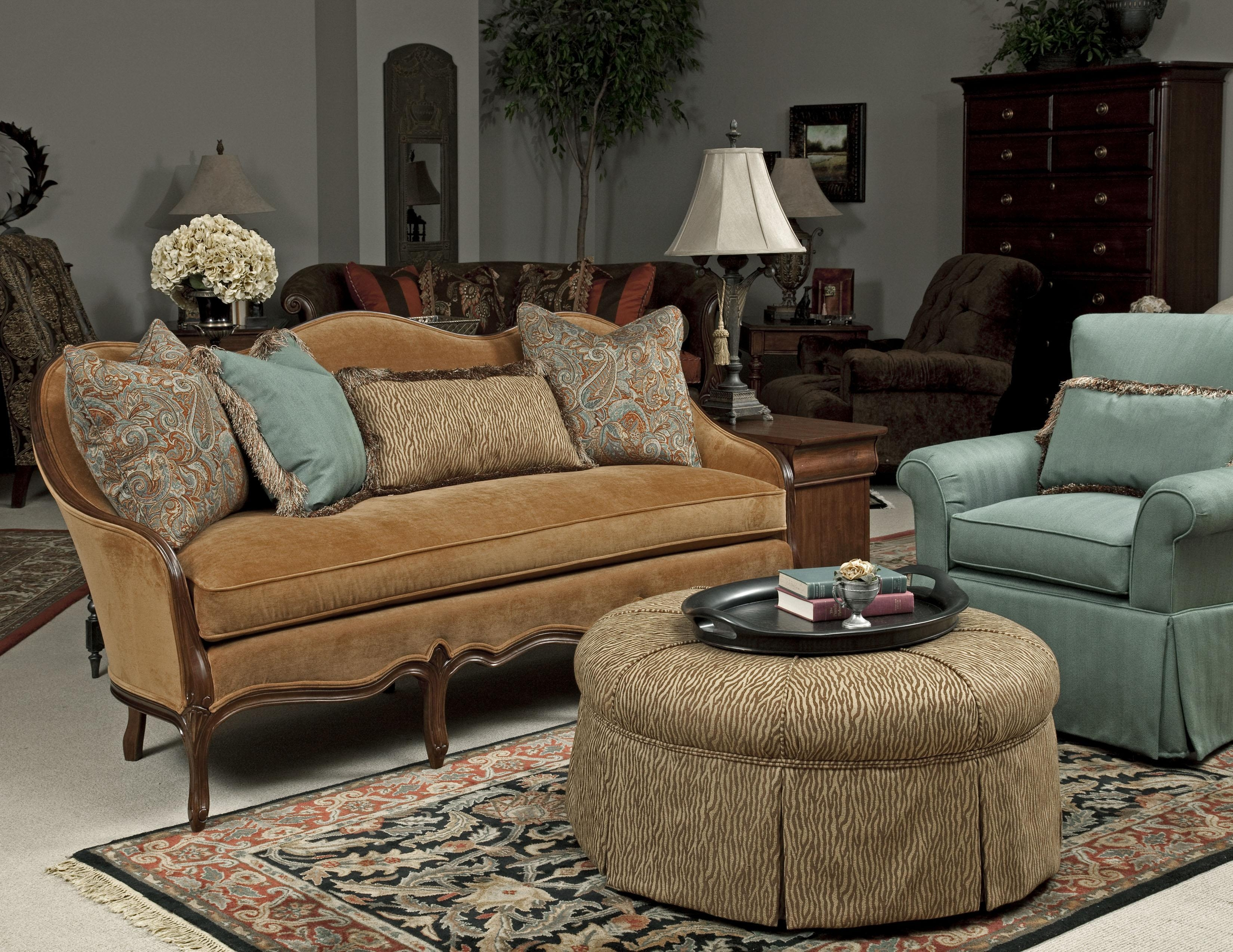 Traditional French Sofa With Exposed Wood Camel Back And Loose Within Camel  Color Sofas (Image