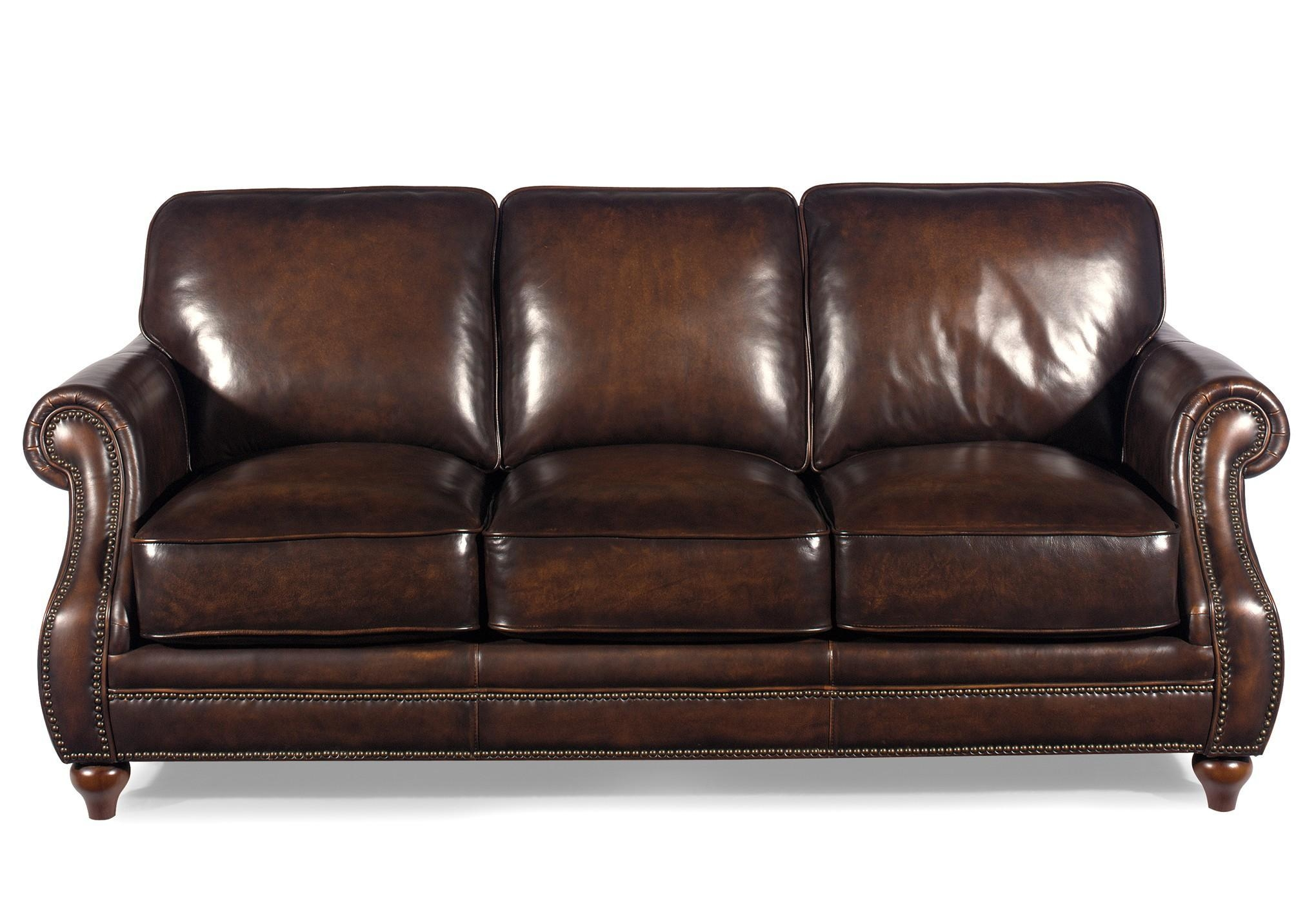 Traditional Leather Sofa With Rolled Arms And Nailhead Trim With Regard To Brown Leather Sofas With Nailhead Trim (Image 19 of 20)