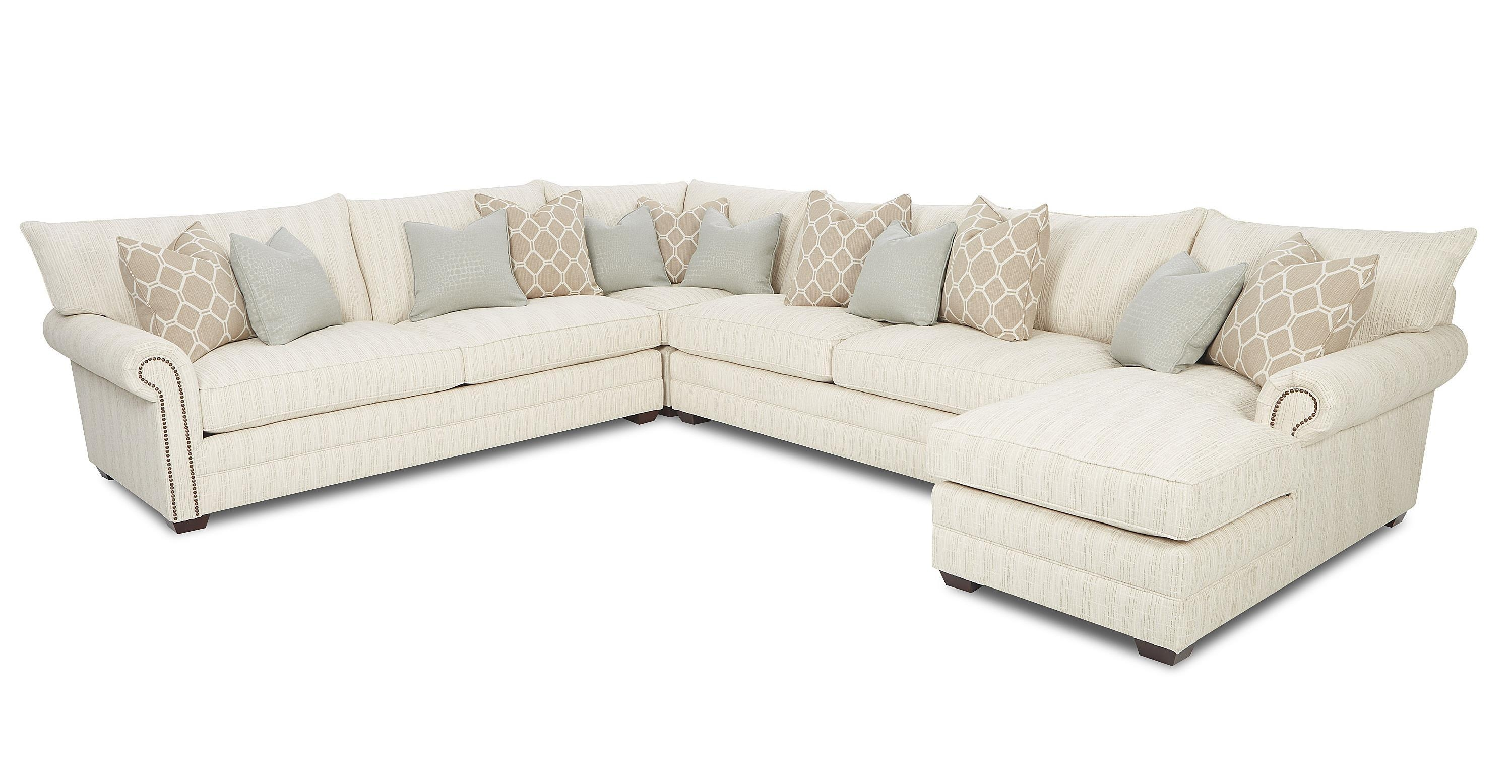 Traditional Sectional Sofa With Nailhead Trim And Chaise Lounge In Traditional Sectional Sofas Living Room Furniture (Image 19 of 20)