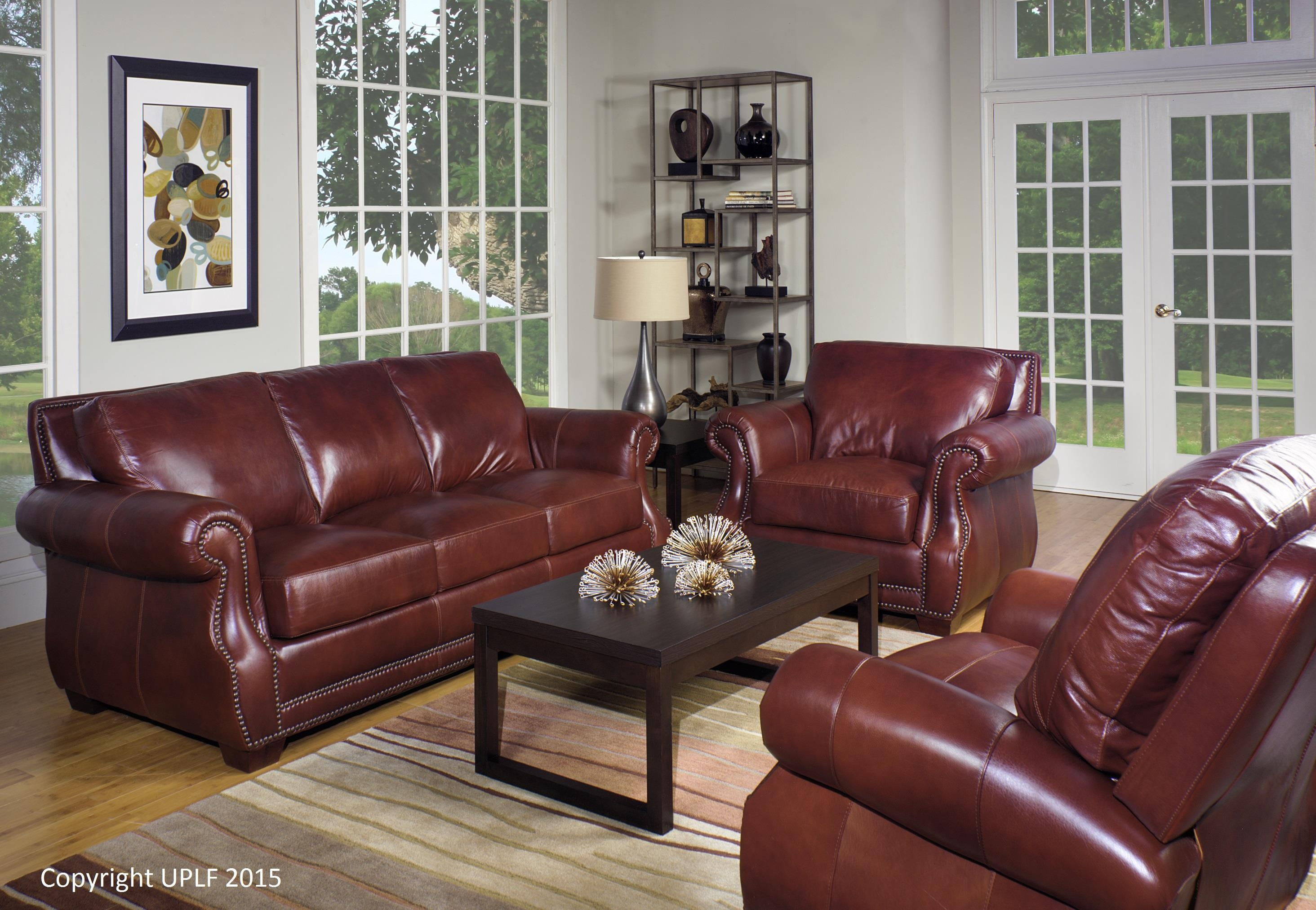 Traditional Top Grain Leather Sofa With Nailhead Trimusa For Brown Leather Sofas With Nailhead Trim (Image 20 of 20)