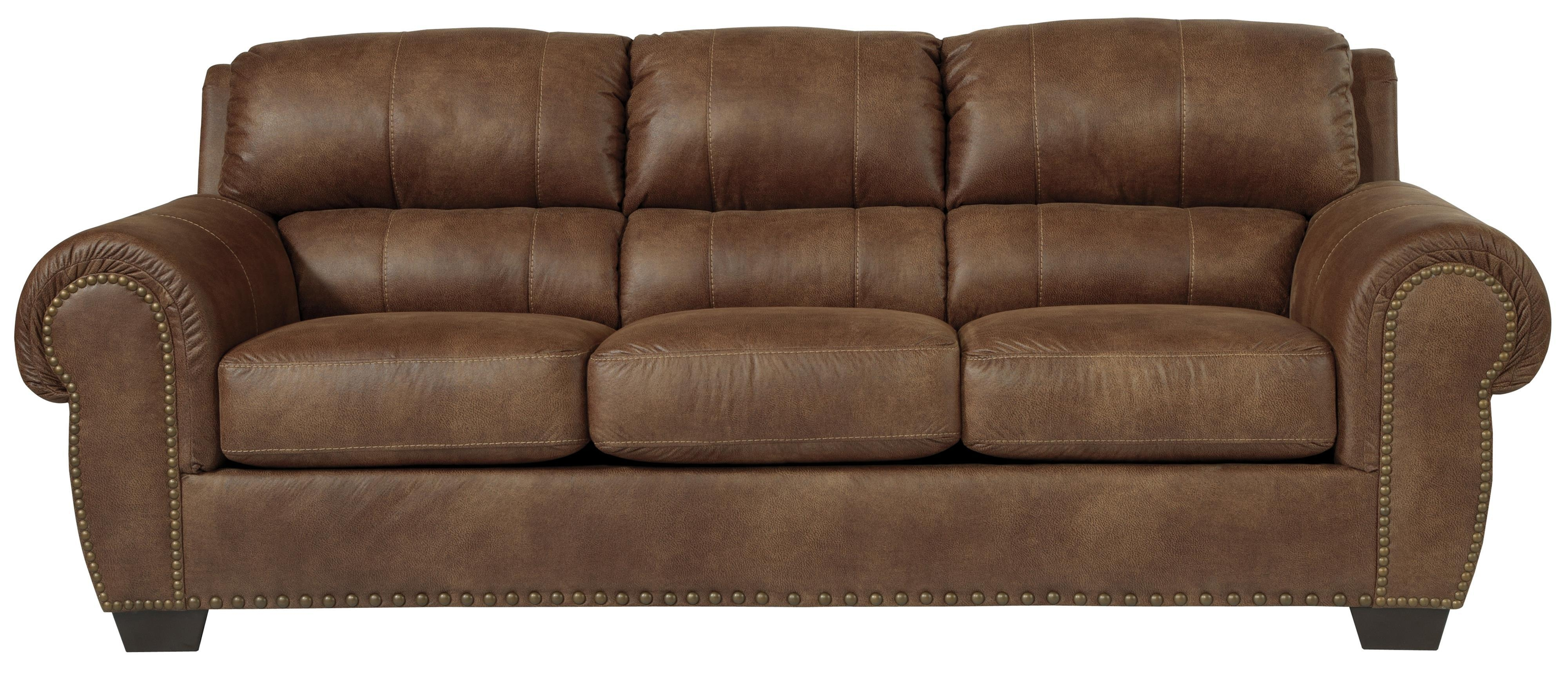 Transitional Faux Leather Sofa With Rolled Arms & Nailhead Trim With Regard To Benchcraft Leather Sofas (Image 19 of 20)