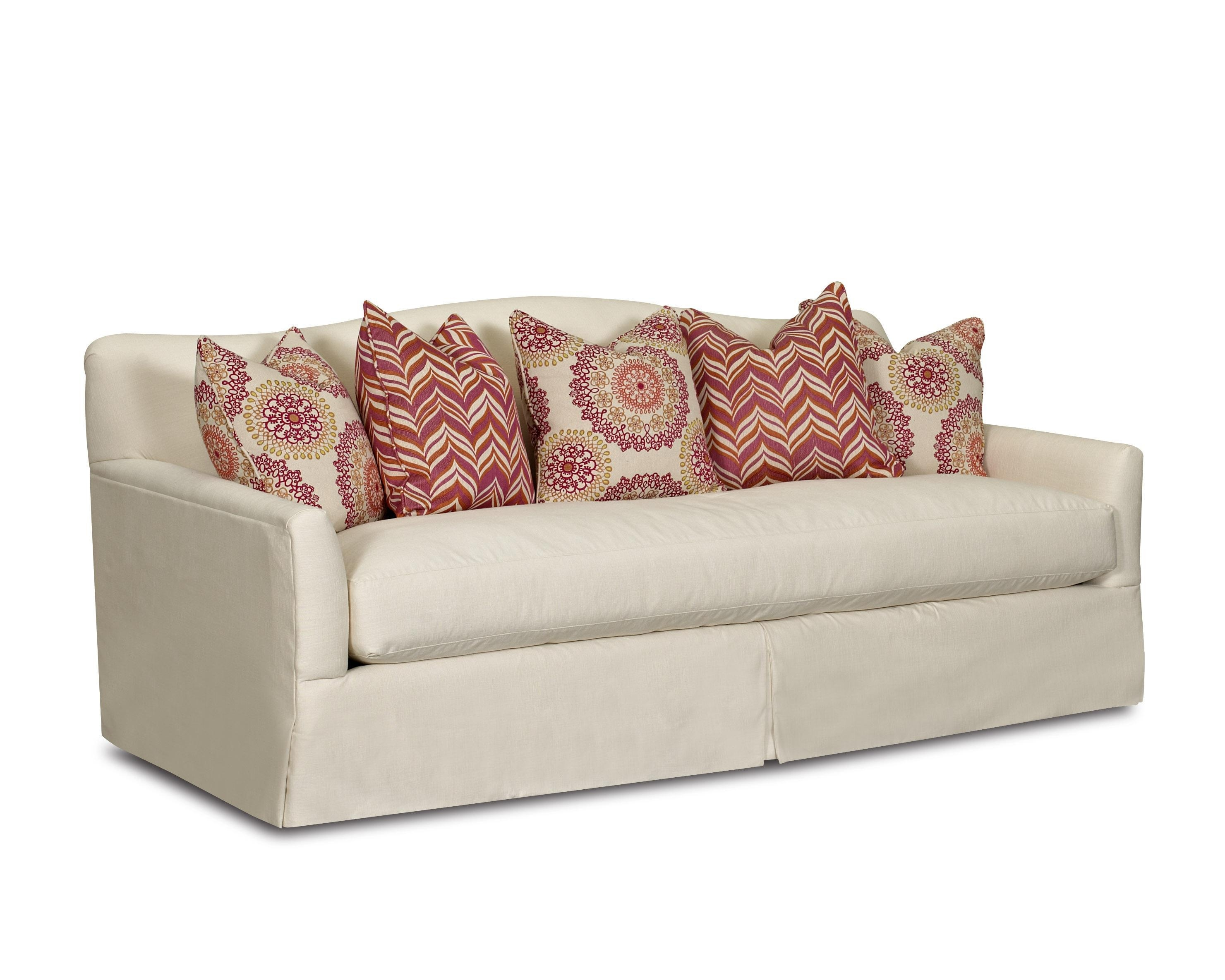 Transitional Stationary Sofa With Bench Seat Cushion, Camel Back Intended For Bench Cushion Sofas (Image 20 of 20)