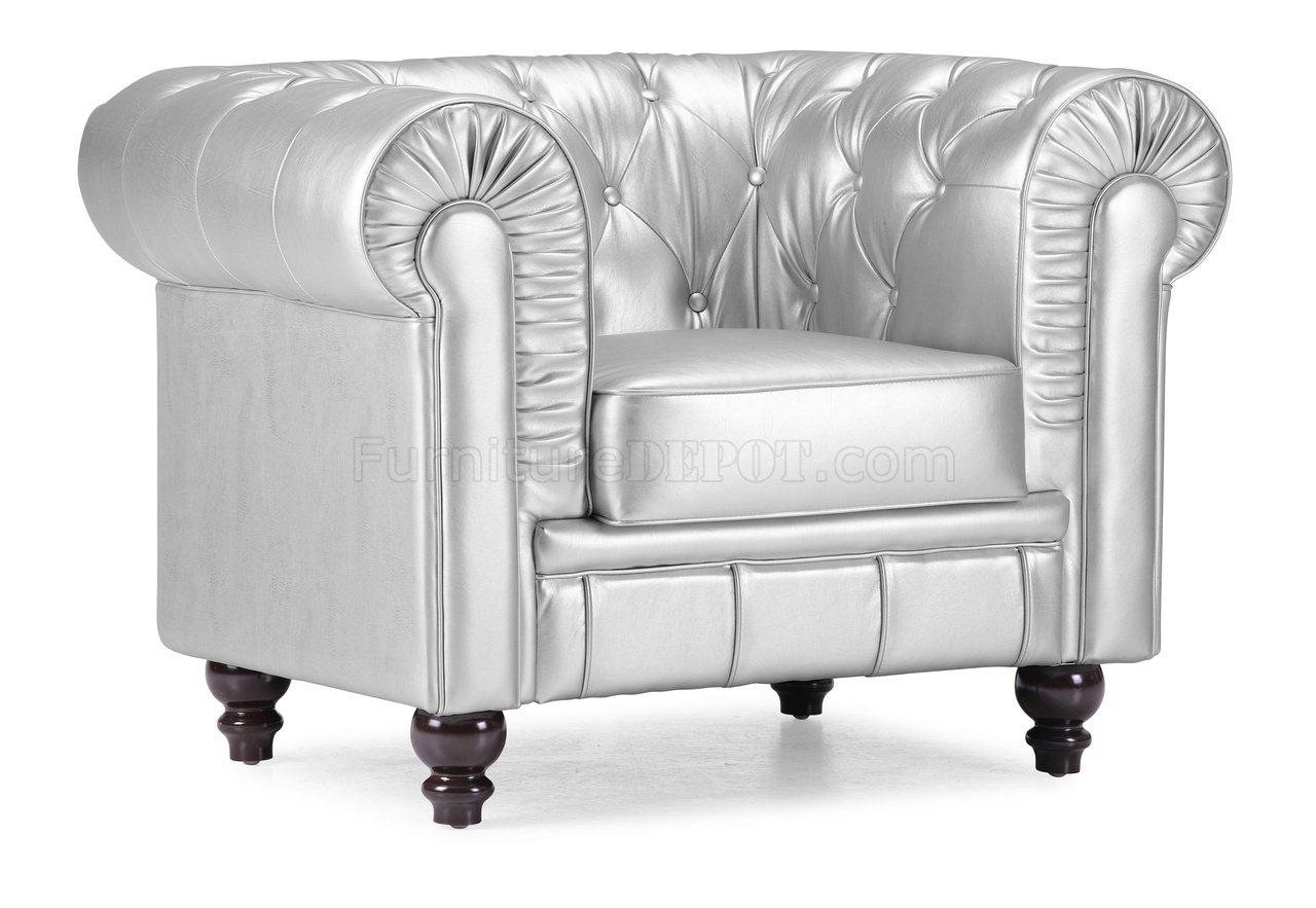 Tufted Leatherette Contemporary Living Room Sofa With Regard To Silver Tufted Sofas (Image 18 of 20)