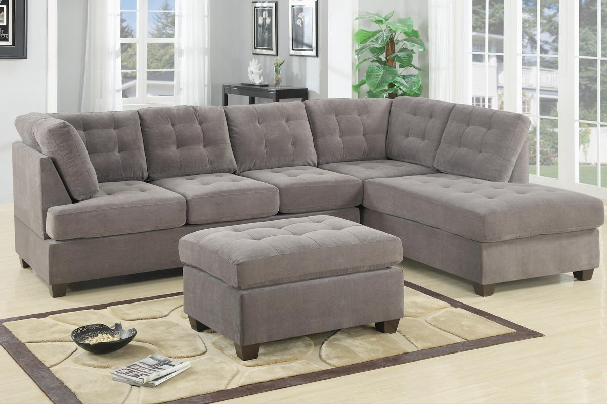 Tufted Light Gray Velvet Sectional Sofa Bed With Small Storage For Sectional Sofas In Small Spaces (Image 18 of 20)