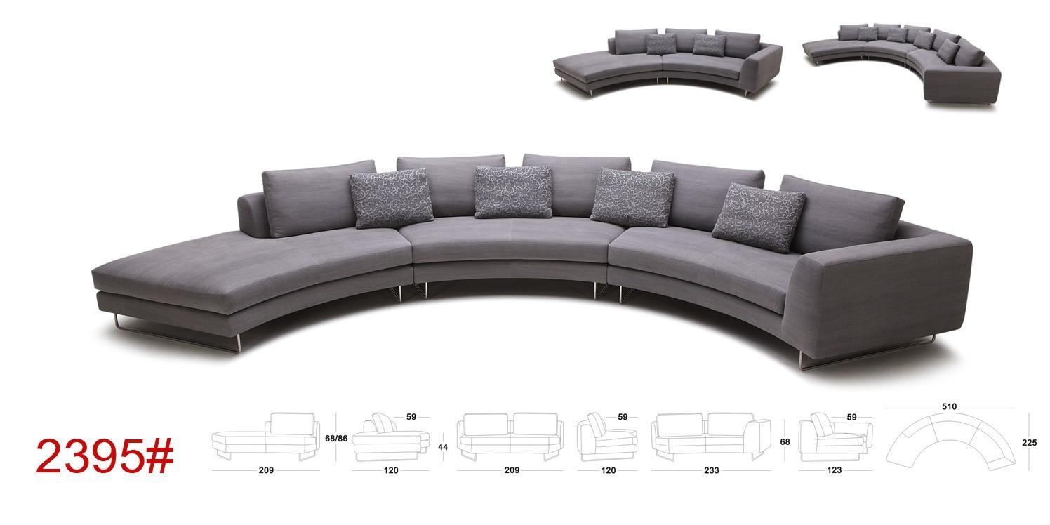 Tulip Modern Rounded Fabric Sectional Sofa In Rounded Sofa (Image 19 of 20)