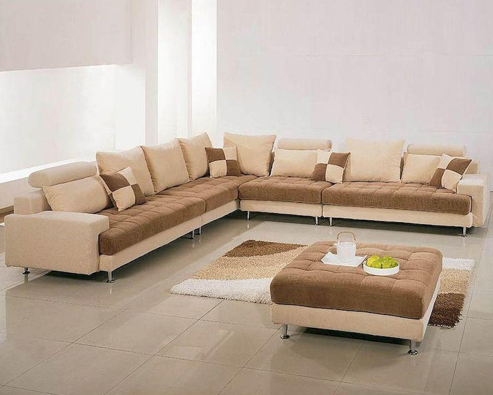 Two Tone Fabric Contemporary Sectional Sofa Set 44Lg60B With Regard To Two Tone Sofas (Image 13 of 20)