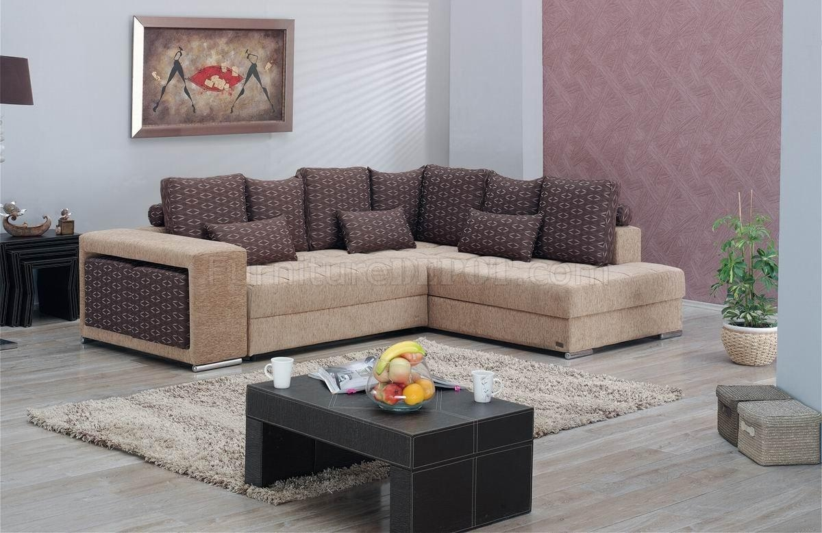 Two Tone Fabric Modern Convertible Sectional Sofa W/storage Pertaining To Convertible Sectional Sofas (Image 15 of 15)
