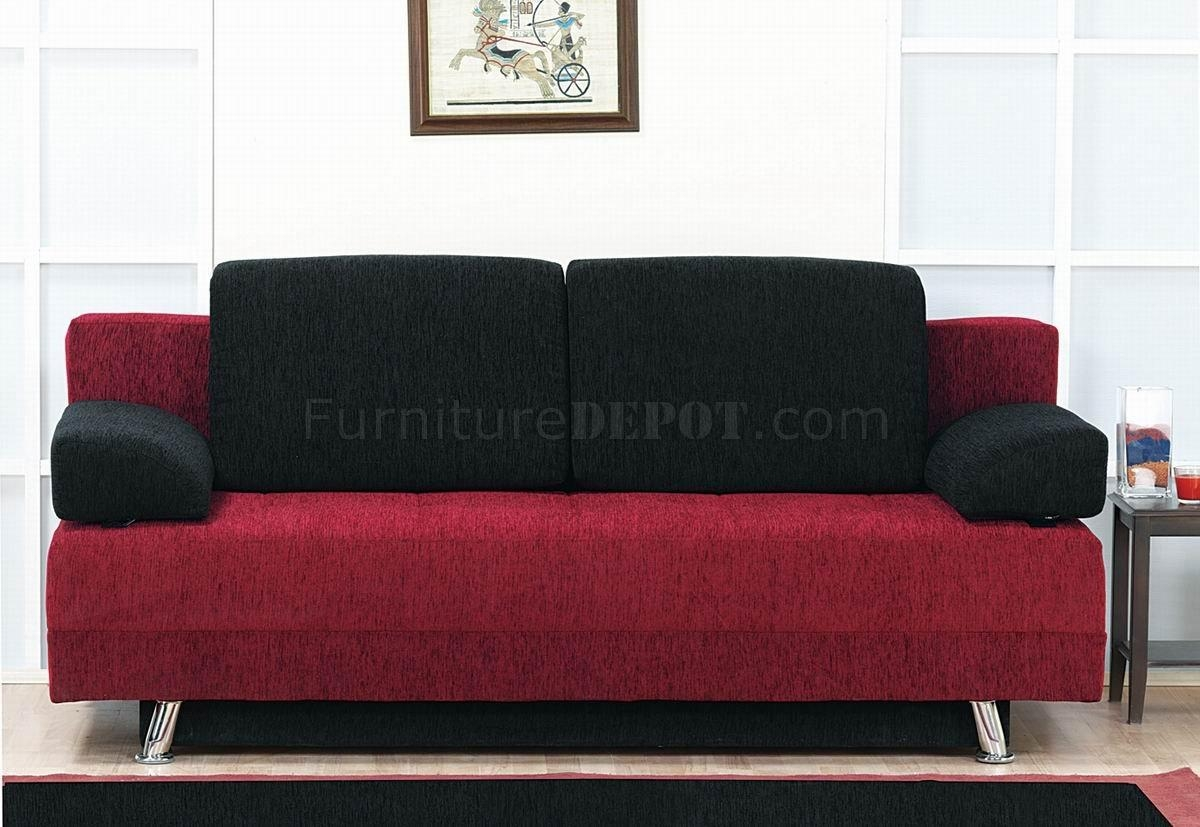 Two Tone Fabric Modern Convertible Sofa Bed W/pillows Inside Black And Red Sofas (Image 19 of 20)