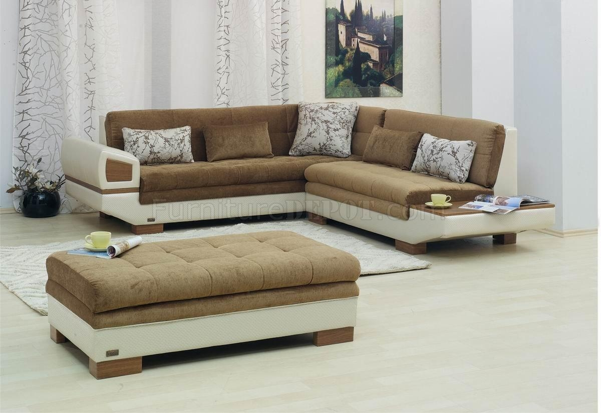Two Tone Fabric & Vinyl Modern Sectional Sofa W/optional Ottoman Inside Two Tone Sofas (Image 17 of 20)