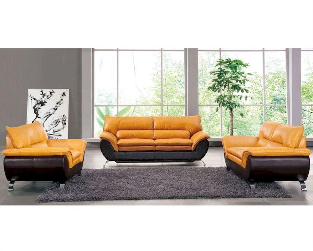 Two Tone Italian Leather Sofa Bed European Design 33Ss222 With Two Tone Sofas (Image 14 of 20)