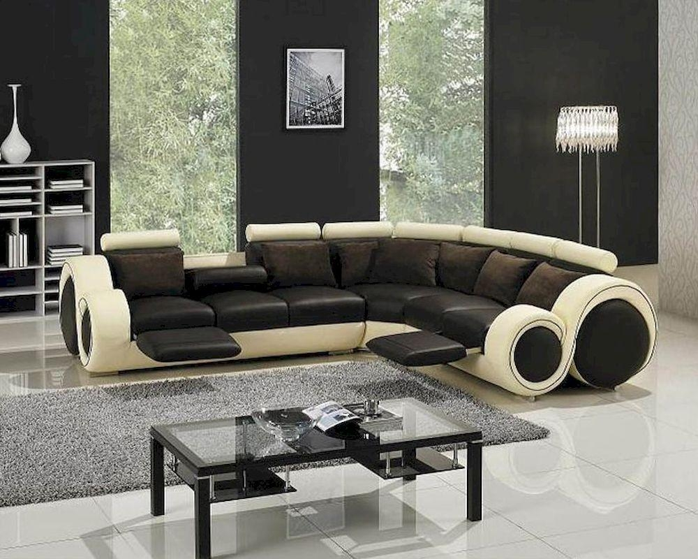 Two Tone Leather Sectional Sofa Set With Recliners 44Lt27C Regarding Two Tone Sofas (View 16 of 20)
