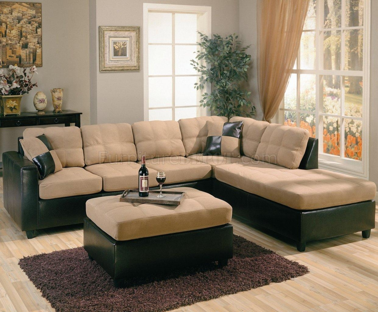 Two Tone Tan Microfiber & Dark Brown Faux Leather Sectional Sofa Regarding Faux Leather Sectional Sofas (Image 13 of 15)