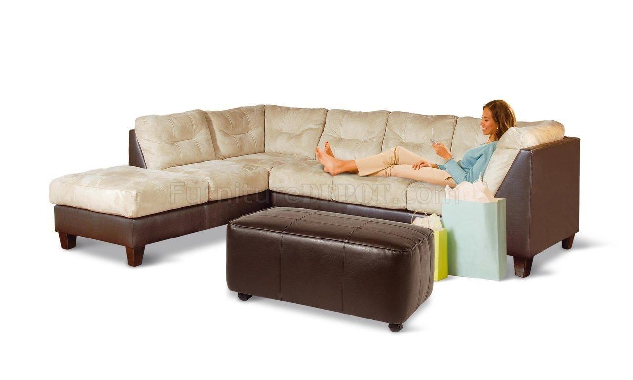 Two Toned Contemporary Sectional Sofa W/extra Long Chaise Pertaining To Long Sectional Sofa With Chaise (View 4 of 20)