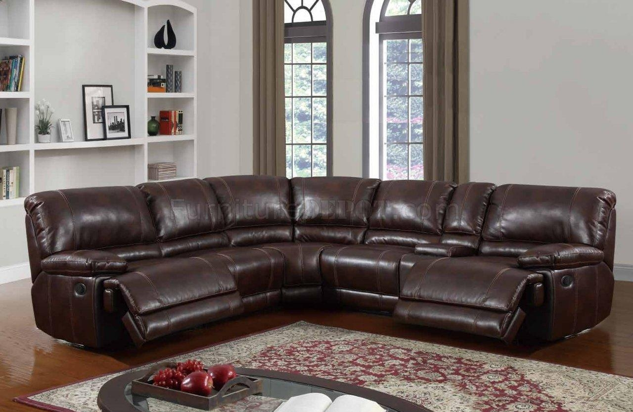 U7303C Motion Sectional Sofa In Walnut Leather Gelglobal inside Leather Motion Sectional Sofa