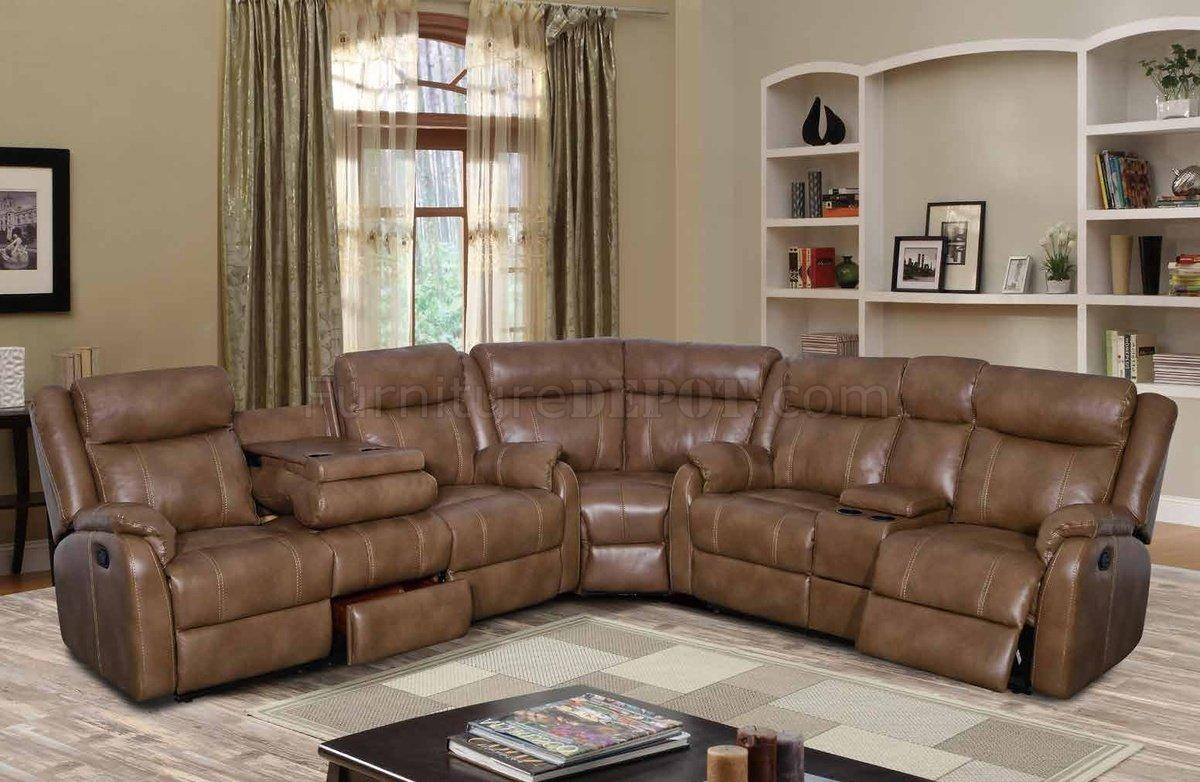 U7303C Motion Sectional Sofa In Walnut Leather Gelglobal Pertaining To Motion Sectional Sofas (Image 17 of 20)