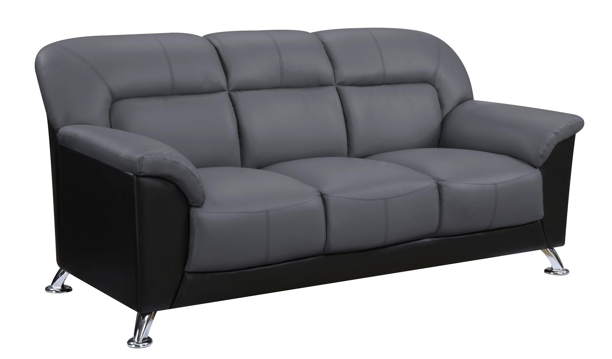 U9102 Dark Grey/black Vinyl Sofaglobal Furniture Within Black Vinyl Sofas (Image 18 of 20)