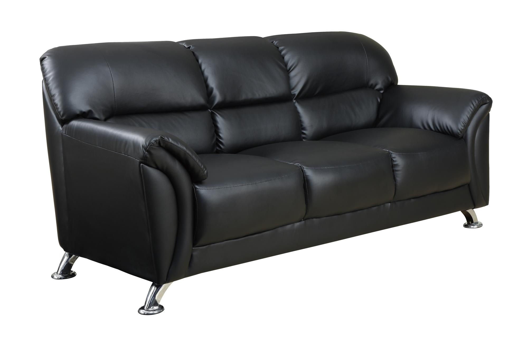 U9103 Black Vinyl Sofaglobal Furniture Throughout Black Vinyl Sofas (Image 19 of 20)