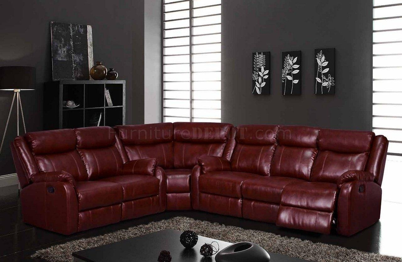 U9303 Motion Sectional Sofa In Burgundyglobal Throughout Leather Motion Sectional Sofa (View 7 of 20)