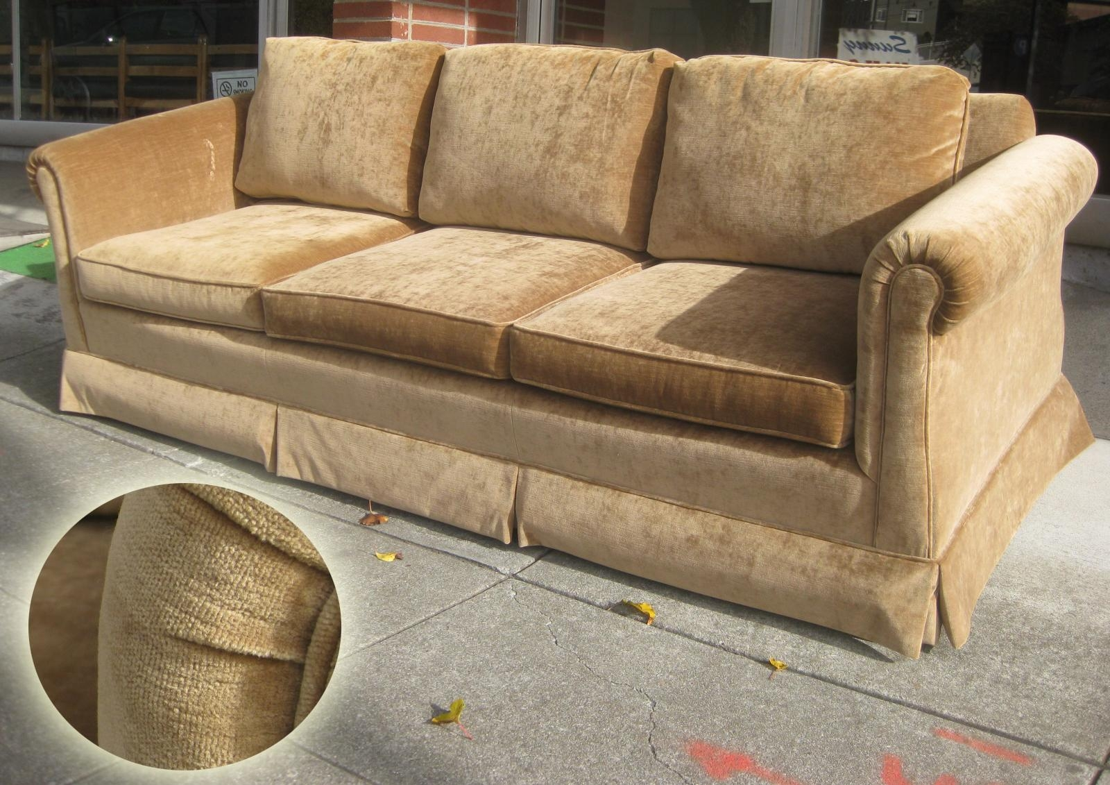 Uhuru Furniture & Collectibles: Sold – Brown Velvet Sofa And Chair For Brown Velvet Sofas (View 3 of 20)