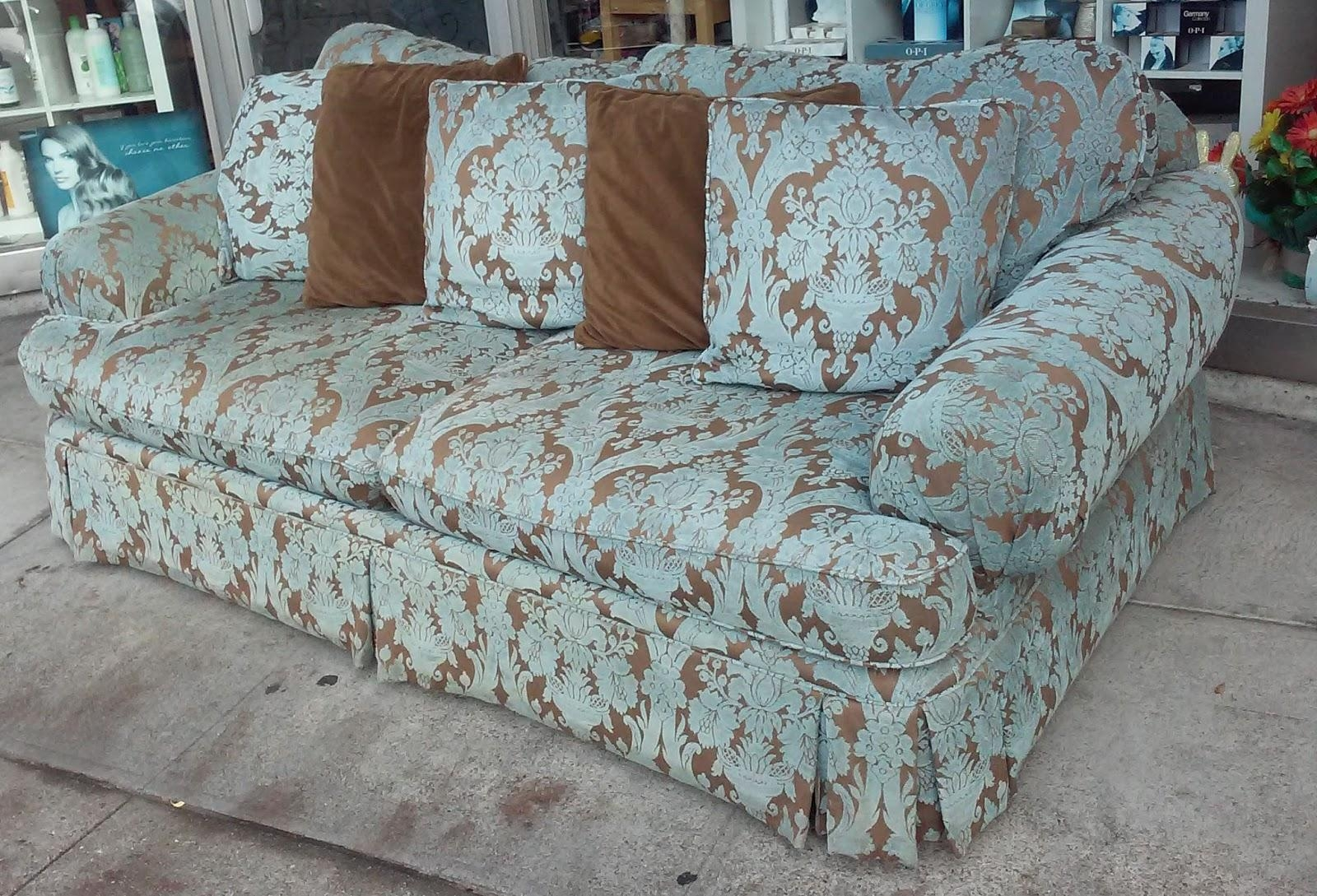 Uhuru Furniture & Collectibles: Sold **reduced** Blue Brocade Sofa intended for Brocade Sofas