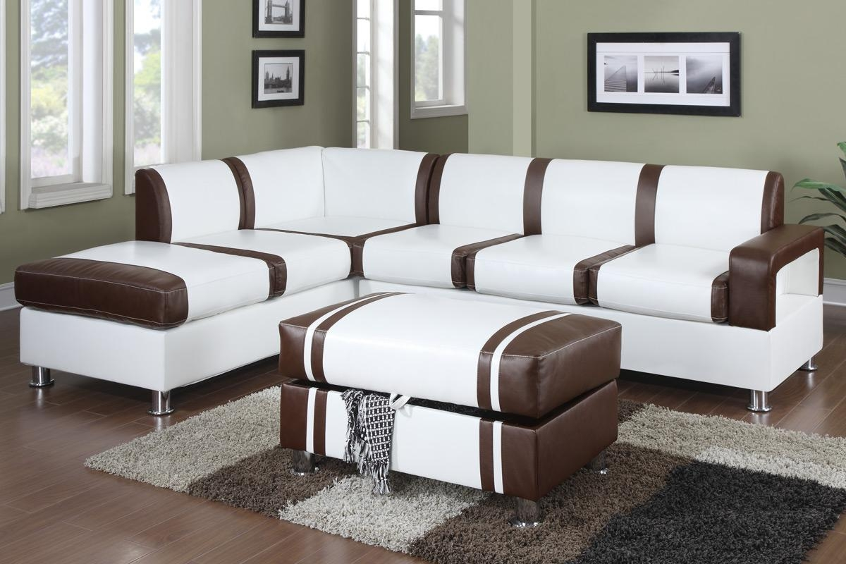Ultra Modern Two Tone Faux Leather Sectional Sofa With Ottoman inside Two Tone Sofas