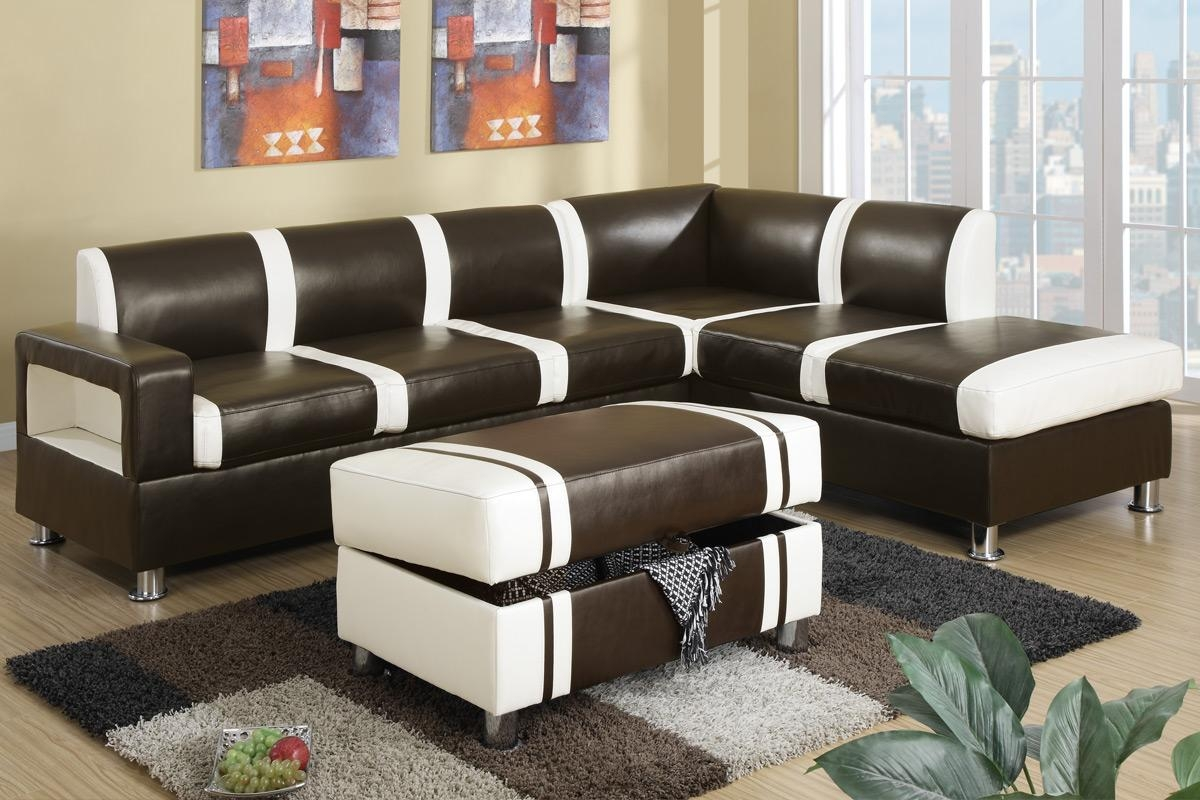 Ultra Modern Two Tone Faux Leather Sectional Sofa With Ottoman Pertaining To Faux Leather Sectional Sofas (Image 14 of 15)