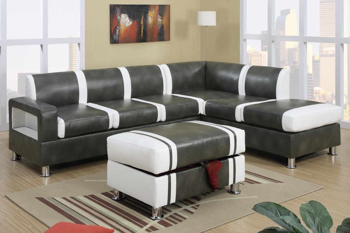 Ultra Modern Two Tone Faux Leather Sectional Sofa With Ottoman Throughout Faux Leather Sectional Sofas (Image 15 of 15)