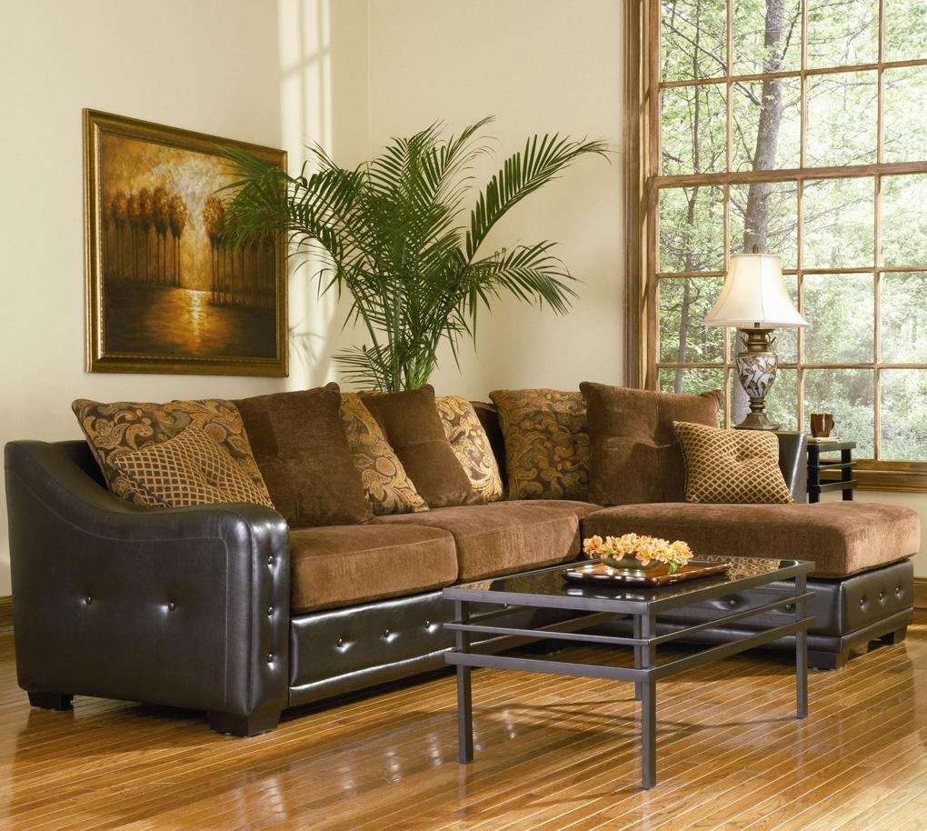 Union Contemporary Chenille Sectional With Leather-Like Base within Leather and Chenille Sectional