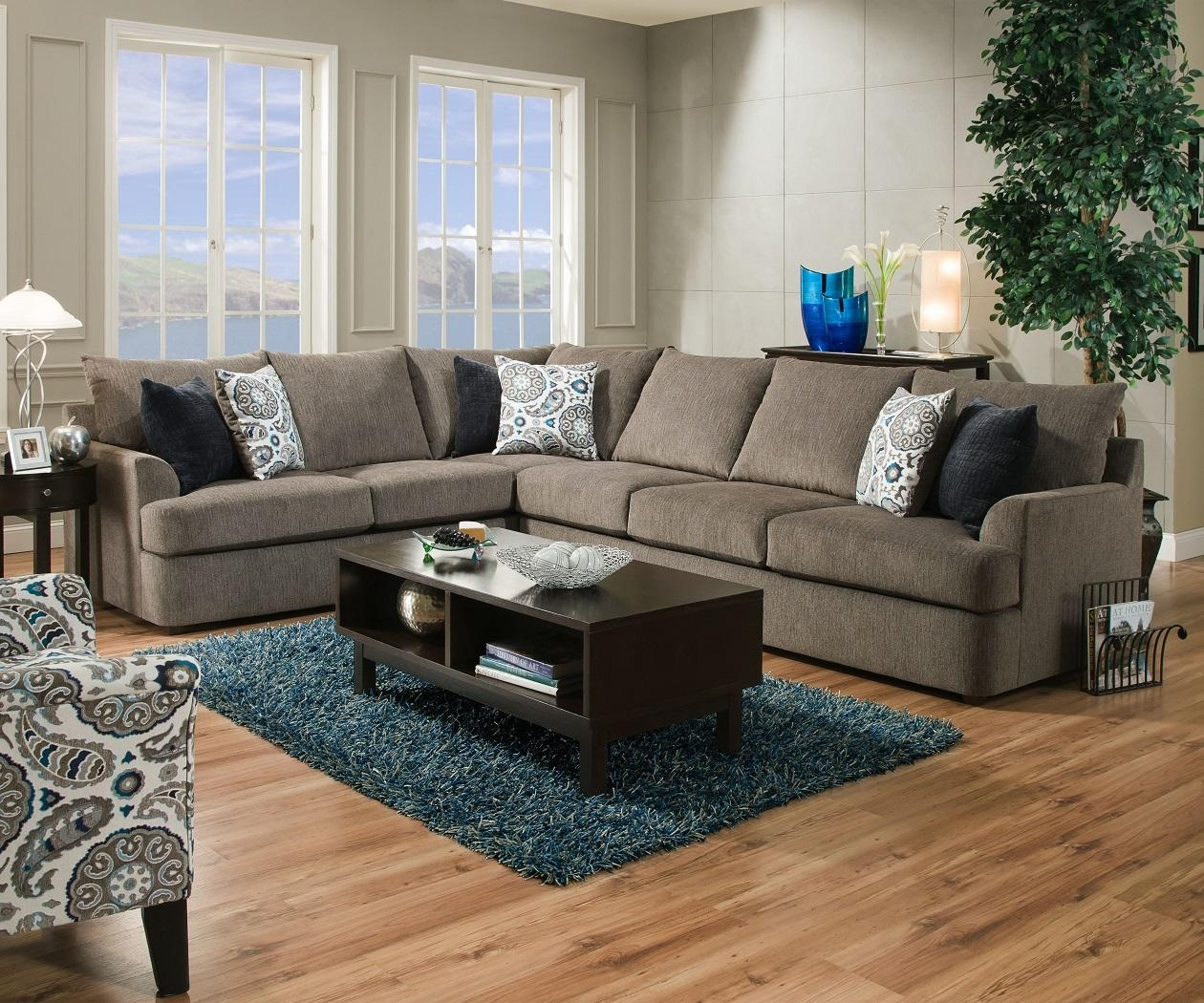 United Simmons Grandstand 8540 Beautyrest Grey Sectional Sofa intended for Simmons Sofas