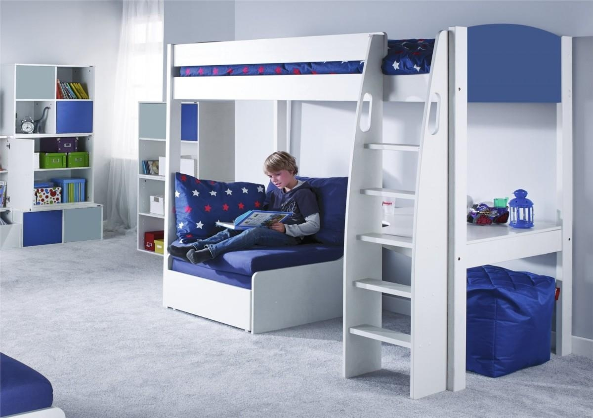 Unos High Sleeper Frame With Desk And Chair Bed Only Pertaining To High Sleeper Bed With Sofa (Image 19 of 20)