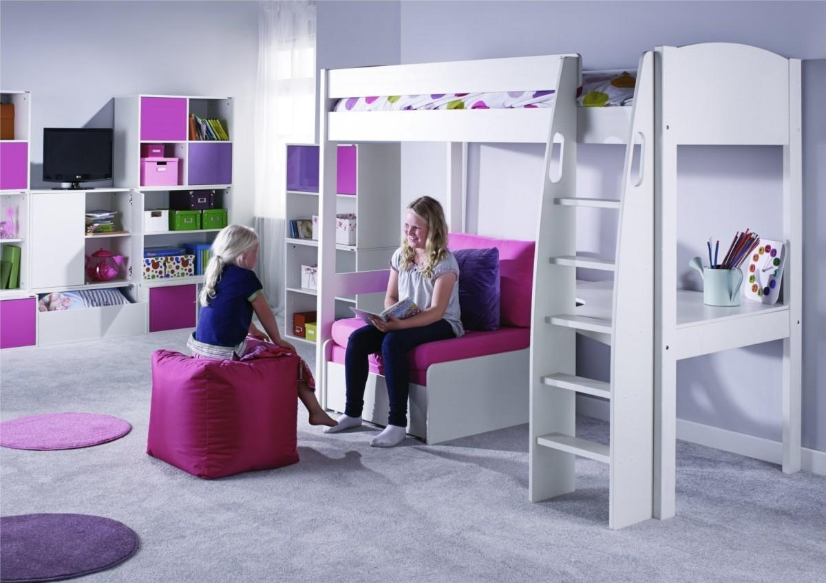 Unos High Sleeper Frame With Desk And Chair Bed Only Pertaining To High Sleeper Bed With Sofa (Image 18 of 20)