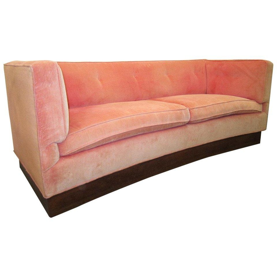Unusual Harvey Probber Style Curved Sofa Plinth Base Mid-Century within Unusual Sofa