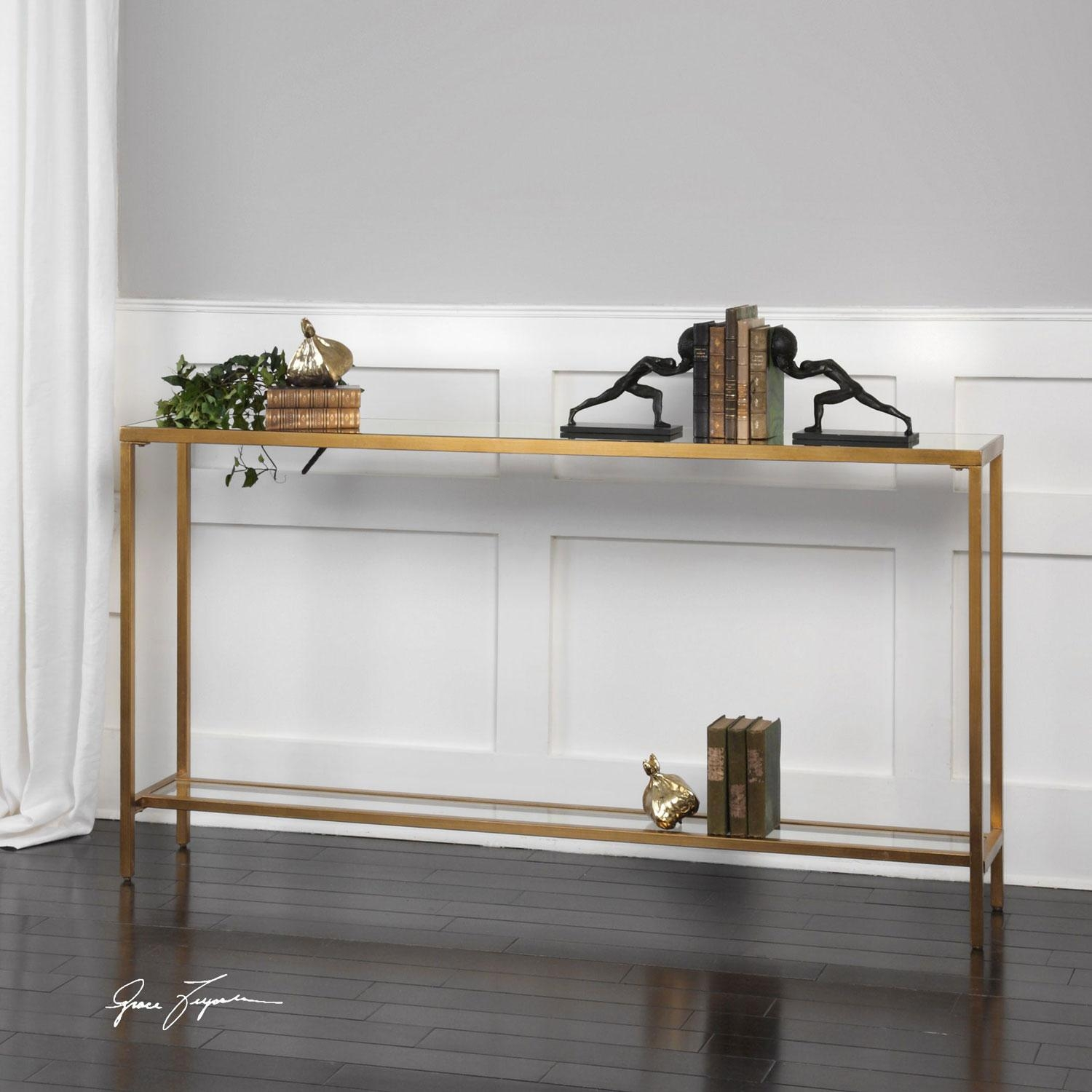 Uttermost Hayley Gold Console Table On Sale pertaining to Gold Sofa Tables