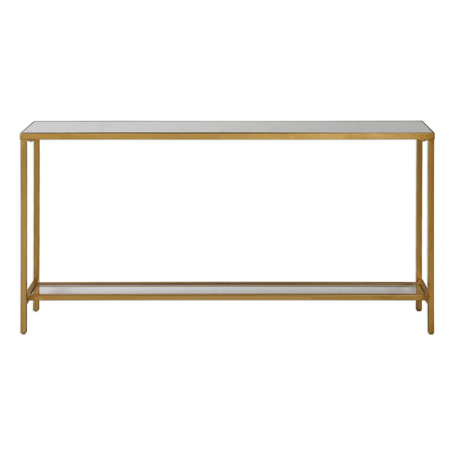 Uttermost Hayley Gold Console Table On Sale Throughout Gold Sofa Tables (Image 19 of 20)