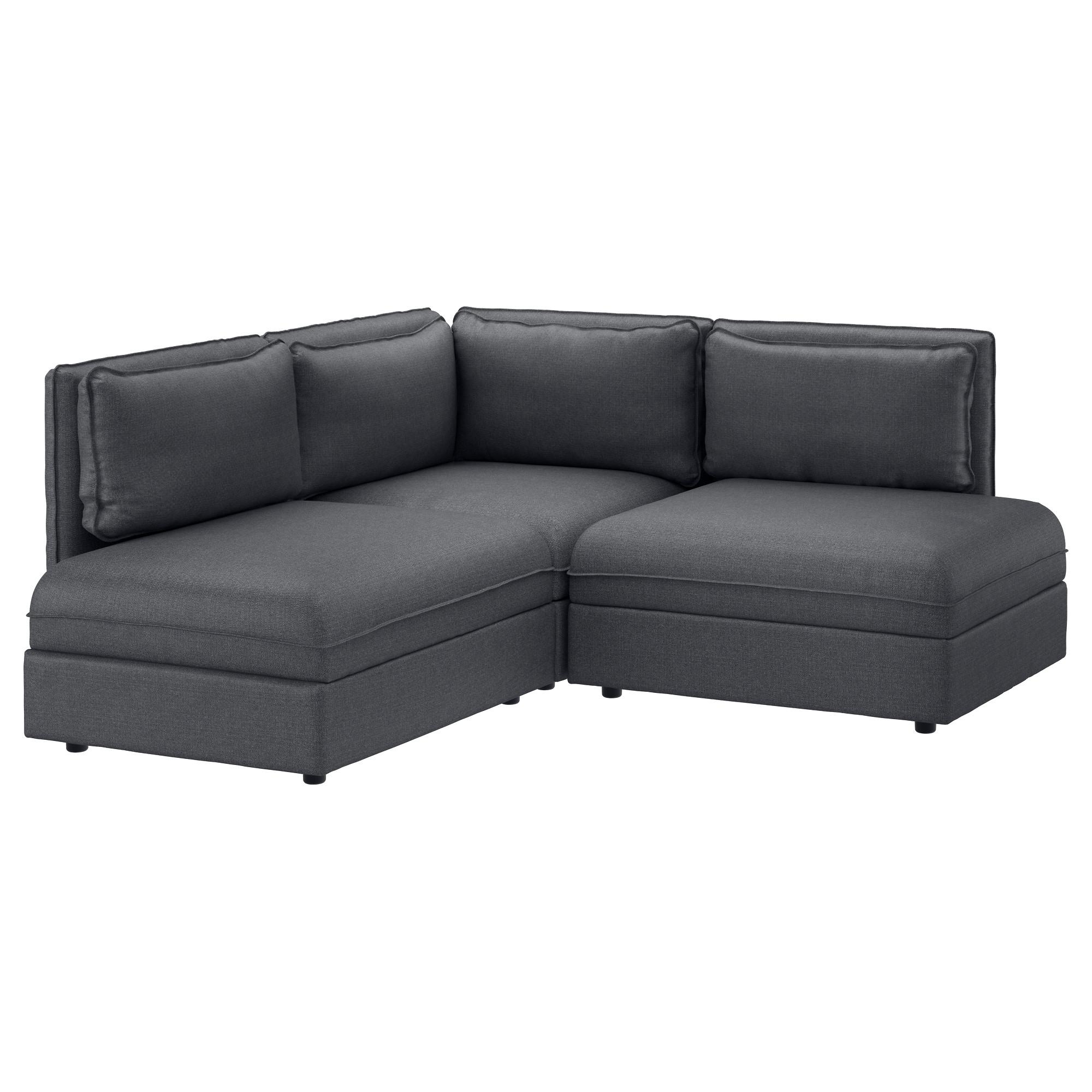 Vallentuna 3-Seat Corner Sofa Hillared Dark Grey - Ikea within Corner Sofas