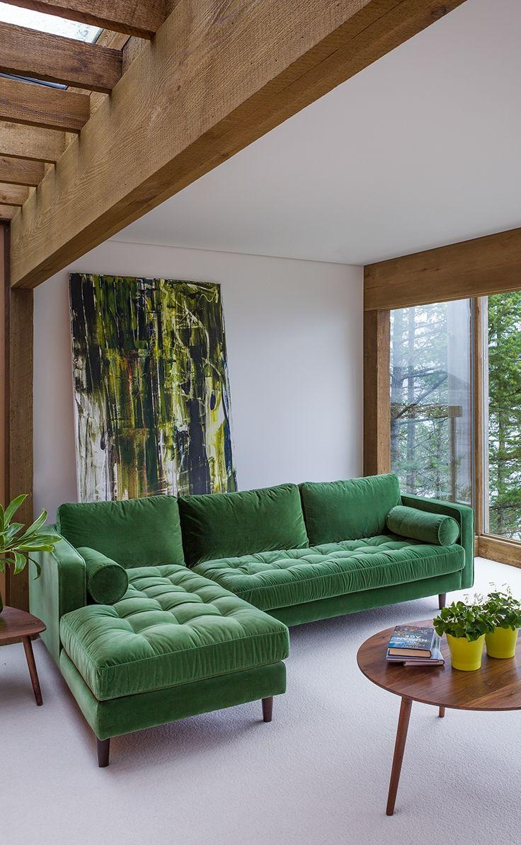 Velvet Mid Century Modern Sectional Upholstered | Sven Mid Century Intended For Emerald Green Sofas (Image 19 of 20)